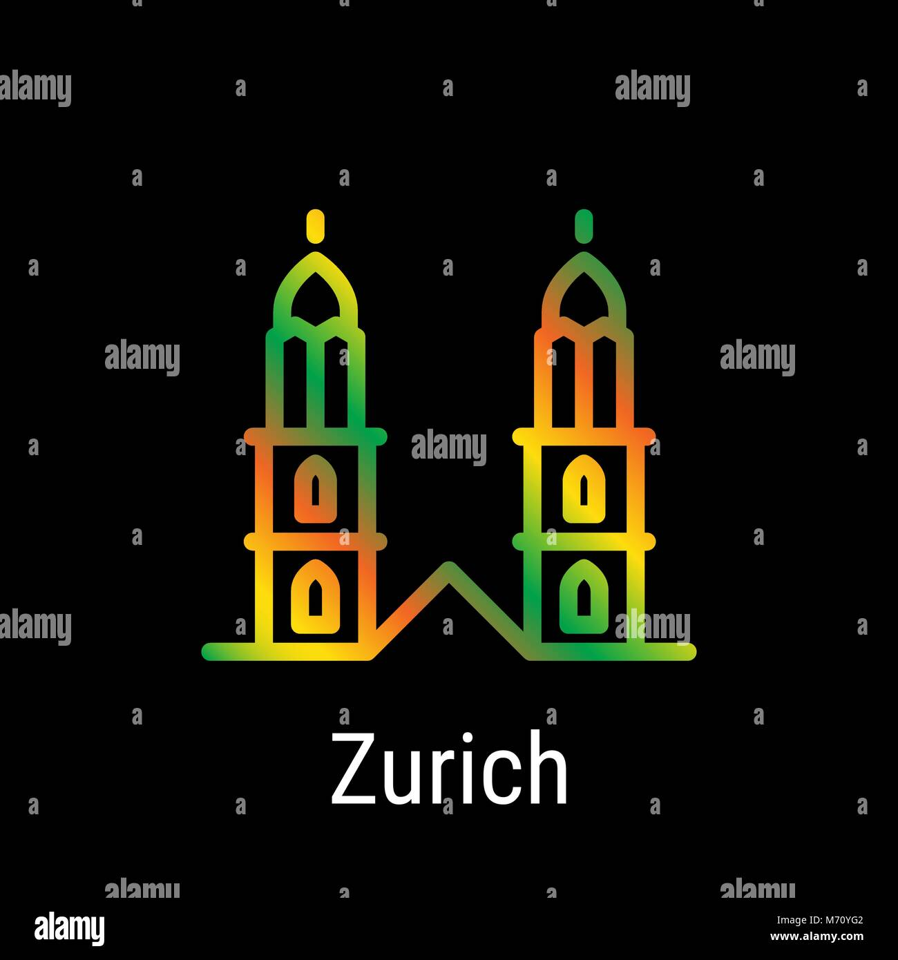 Zurich, Switzerland Vector Line Icon - Stock Vector