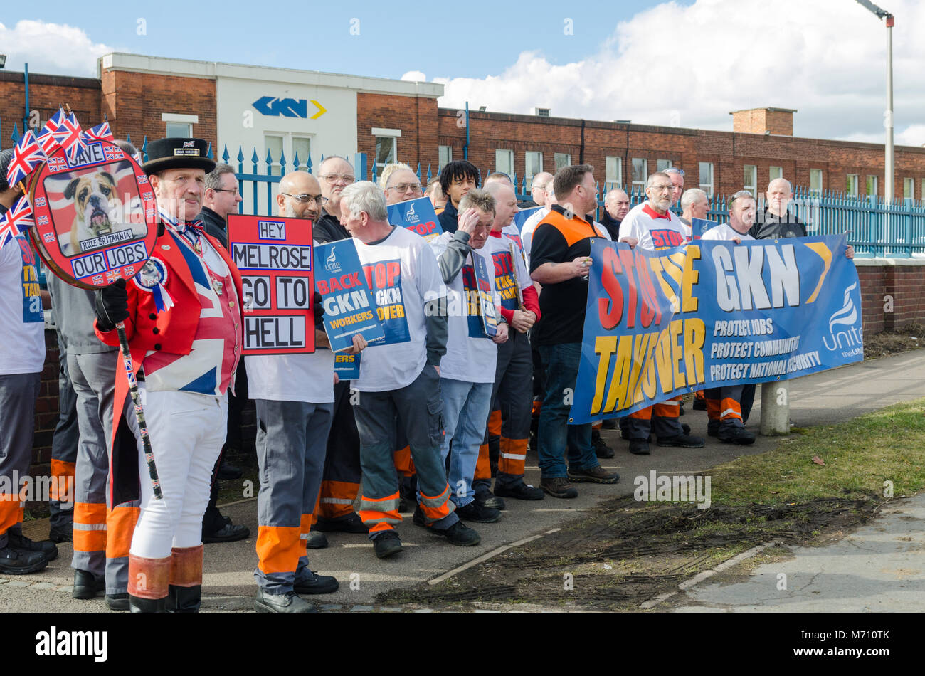 Birmingham, UK. 7th March 2018. Protest against proposed takeover of British automotive company GKN by Melrose International - Stock Image