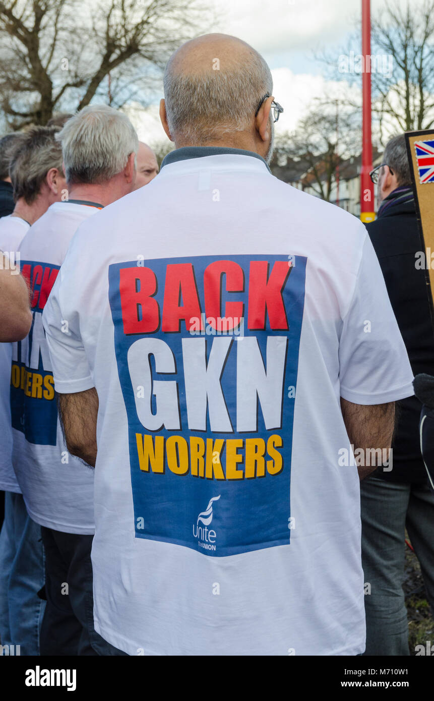 Birmingham, UK. 7th March 2018. Protest against proposed takeover of British automotive company GKN by Melrose International Stock Photo