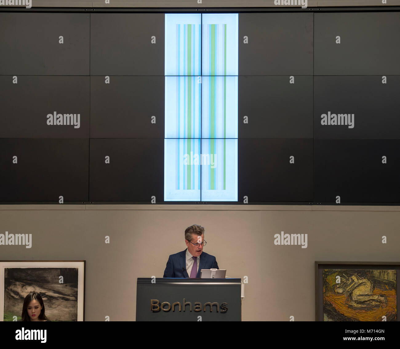 Bonhams, New Bond Street, London, UK. 7 March 2018. Bridget Riley's Yellow affected by Red and Blue sells for £32,000 - Stock Image