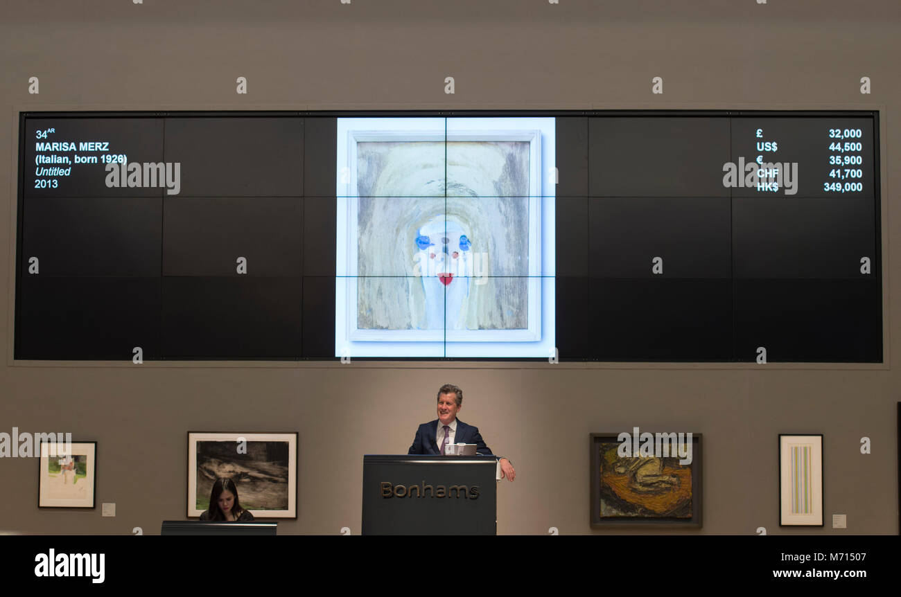Bonhams, New Bond Street, London, UK. 7 March 2018. Marisa Merz Untitled sells for £32,000 (excluding charges) - Stock Image