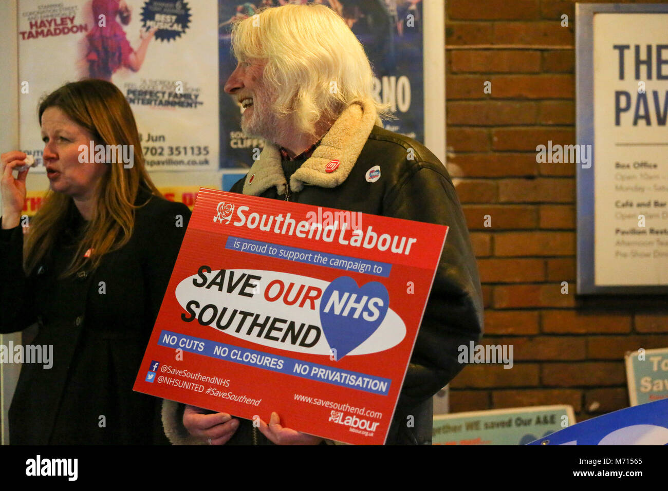 Southend on Sea, Essex, UK. 7th Mar, 2018. A small demonstration outside the Cliffs Pavilion to protest at the proposed merger of three local hospitals. At the same time The Sustainability and Transformation Partnership (STP) are holding the final Southend public meeting to present the proposed changes. Penelope Barritt/Alamy Live News Stock Photo