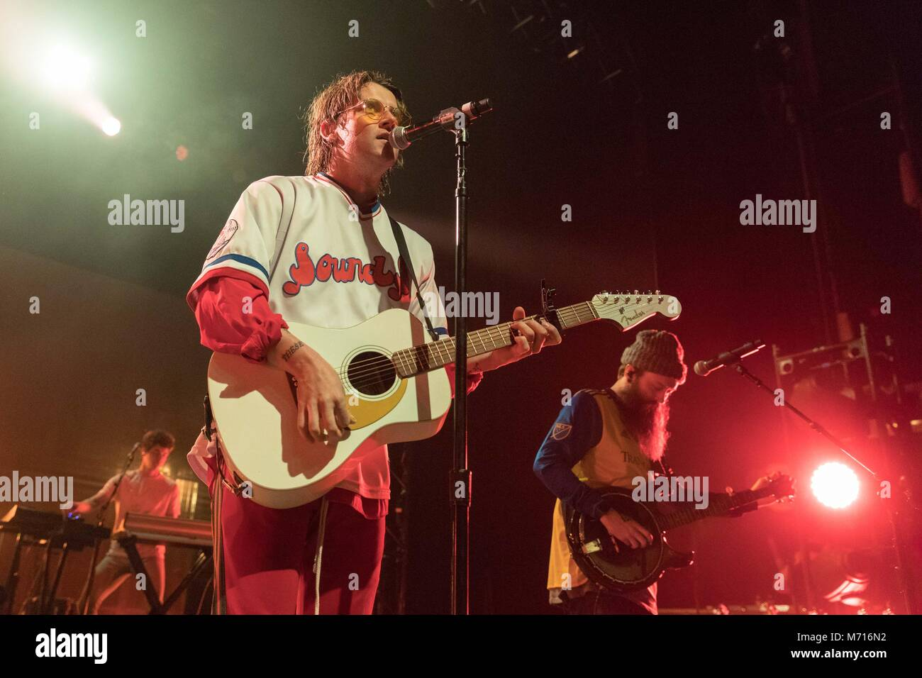 Madison, Wisconsin, USA. 6th Mar, 2018. DANIEL WEATHERBY, JUDAH AKERS and NATE ZUERCHER of Judah and the Lion during Stock Photo
