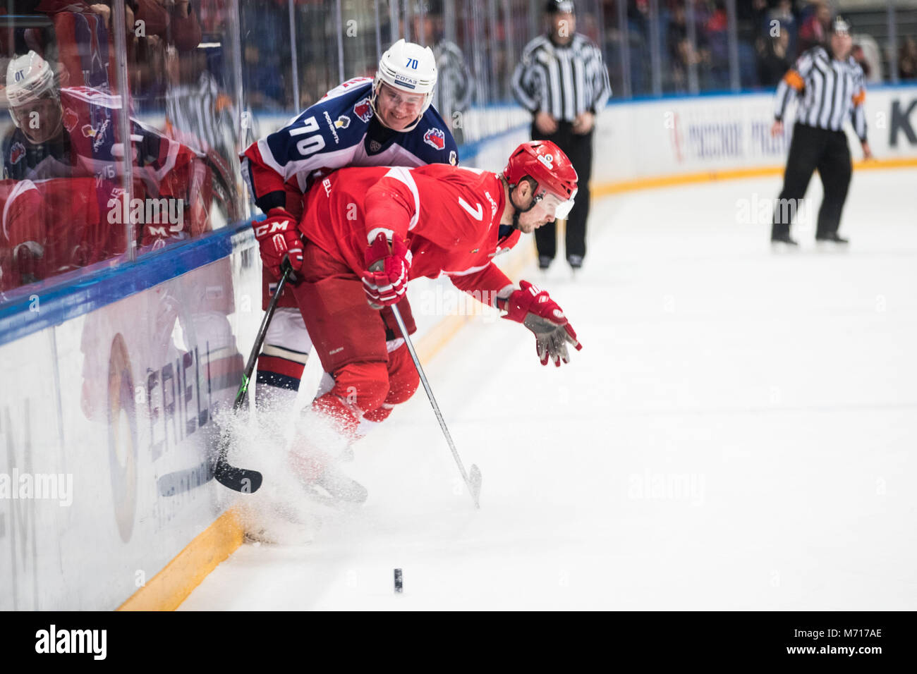 Moscow, Russia. 7th Mar, 2018. Dimitry Kalinin (R) of Spartak stops Sergei Shumakov of CSKA during a KHL play-off - Stock Image