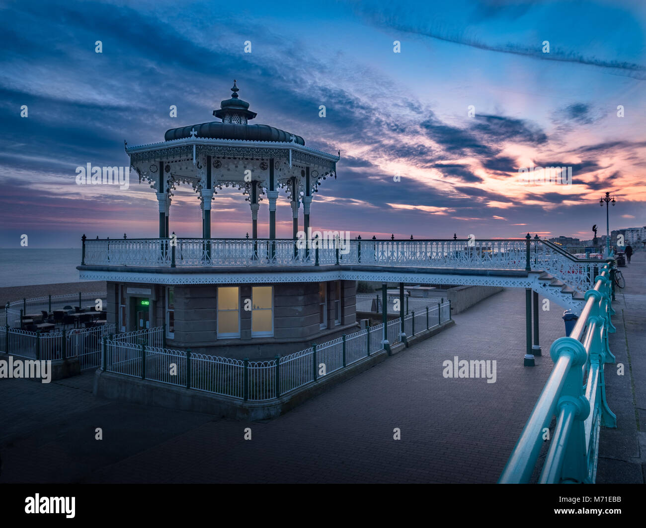 Sunset at Brighton Bandstand - Stock Image