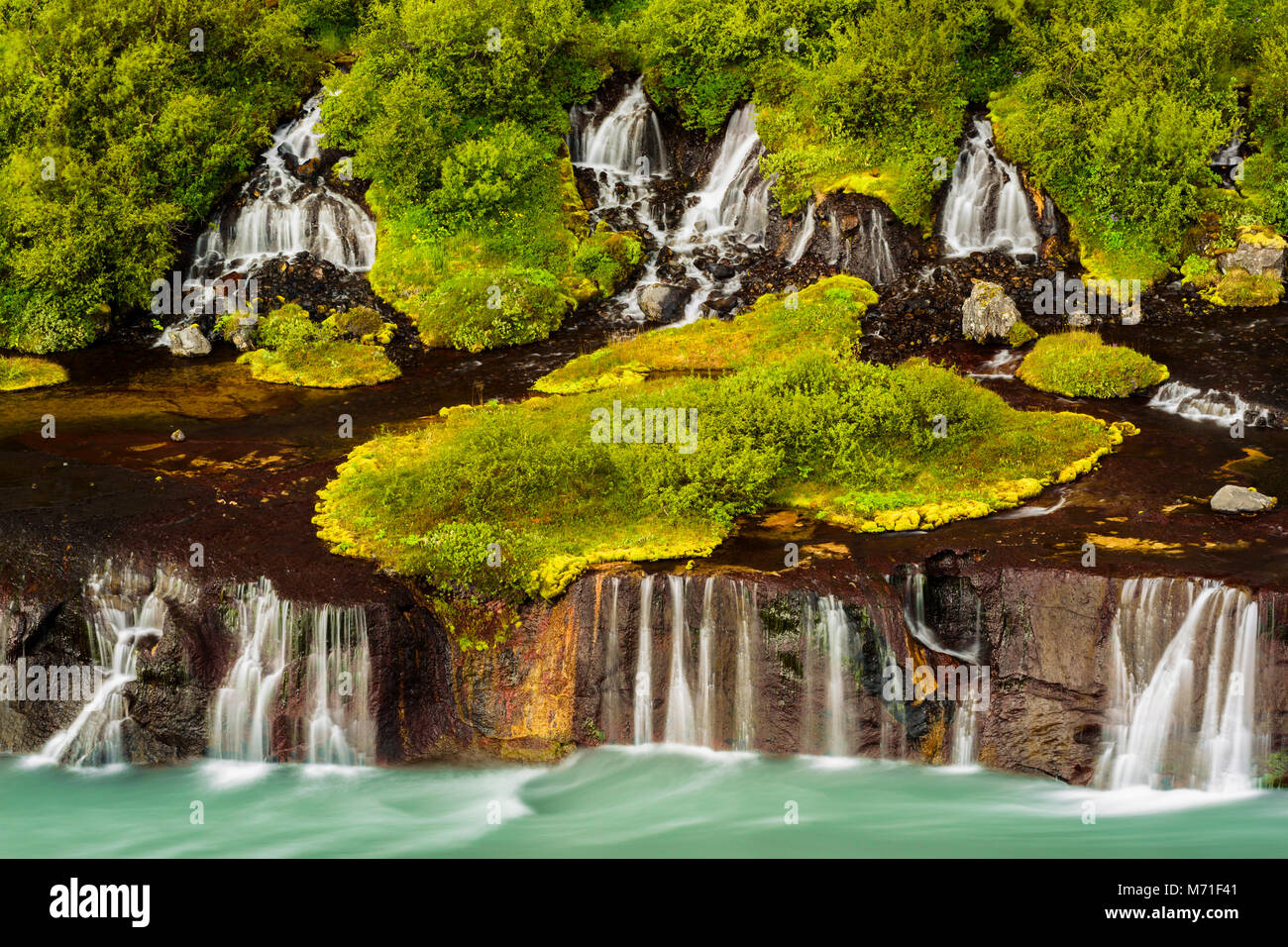 Fascinating waterfall of Hraunfossar in Iceland. - Stock Image