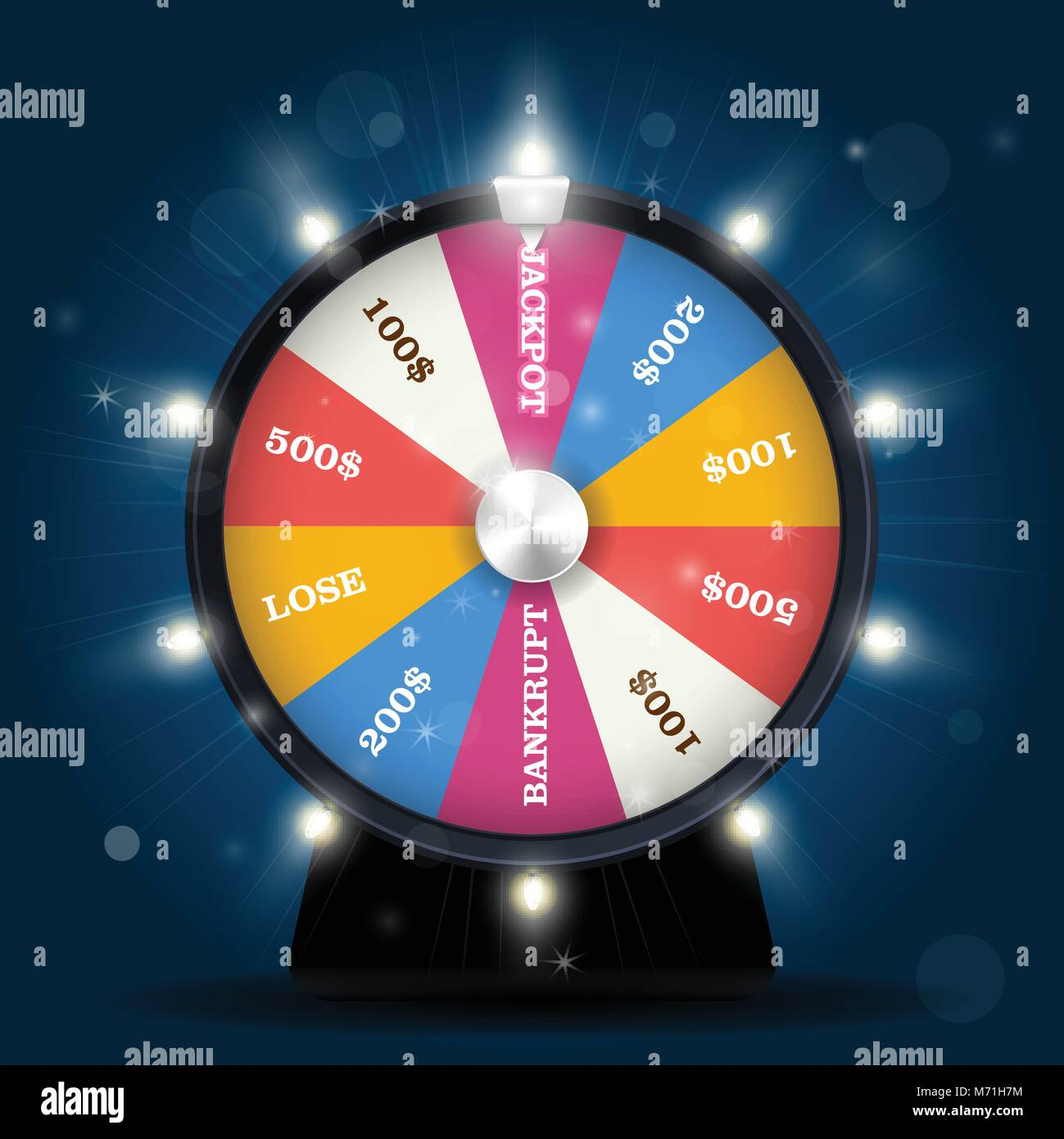 Jackpot on wheel of fortune - lottery win - Stock Vector