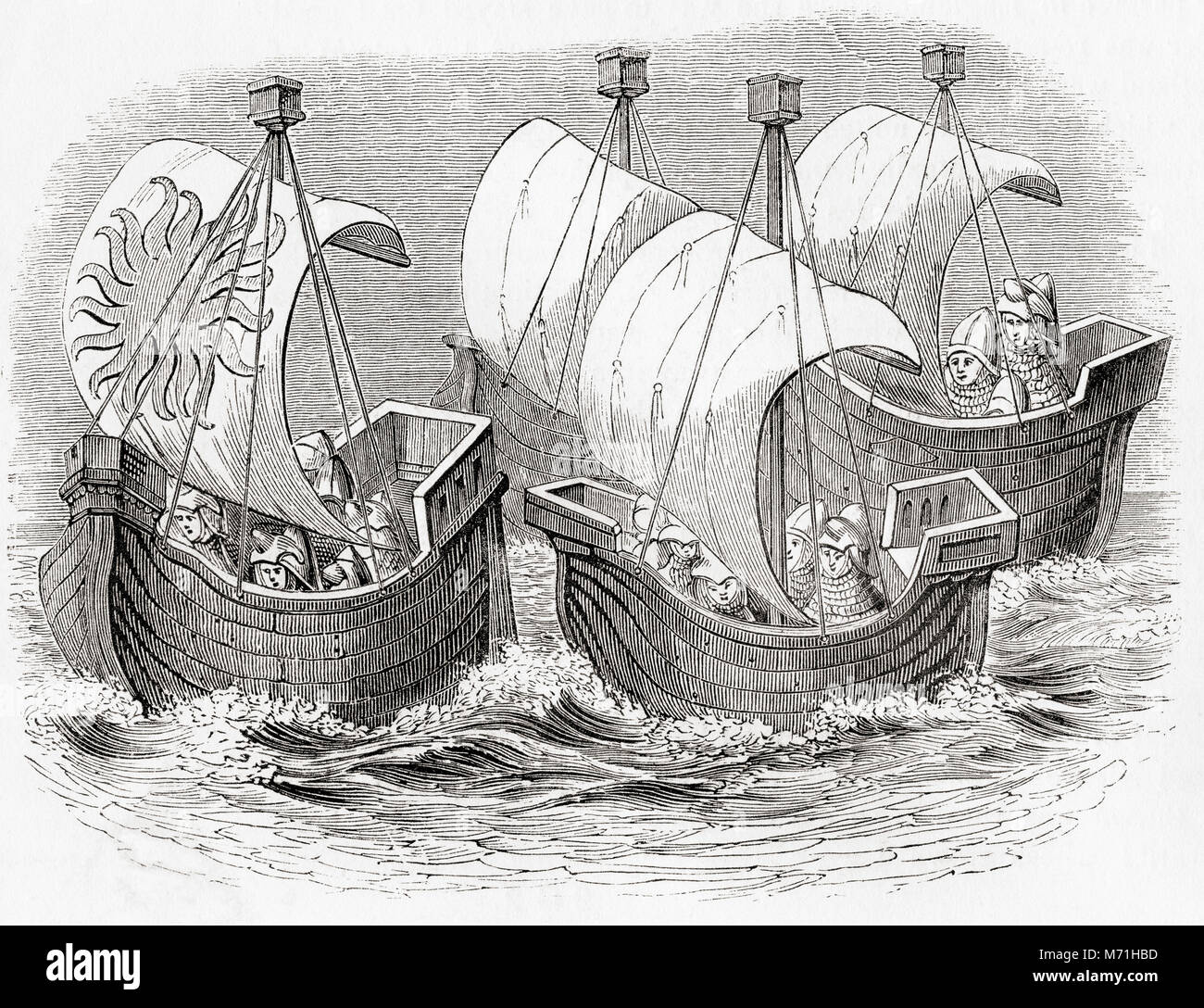 14th century ships from the time of Richard II.  From Old England: A Pictorial Museum, published 1847. - Stock Image