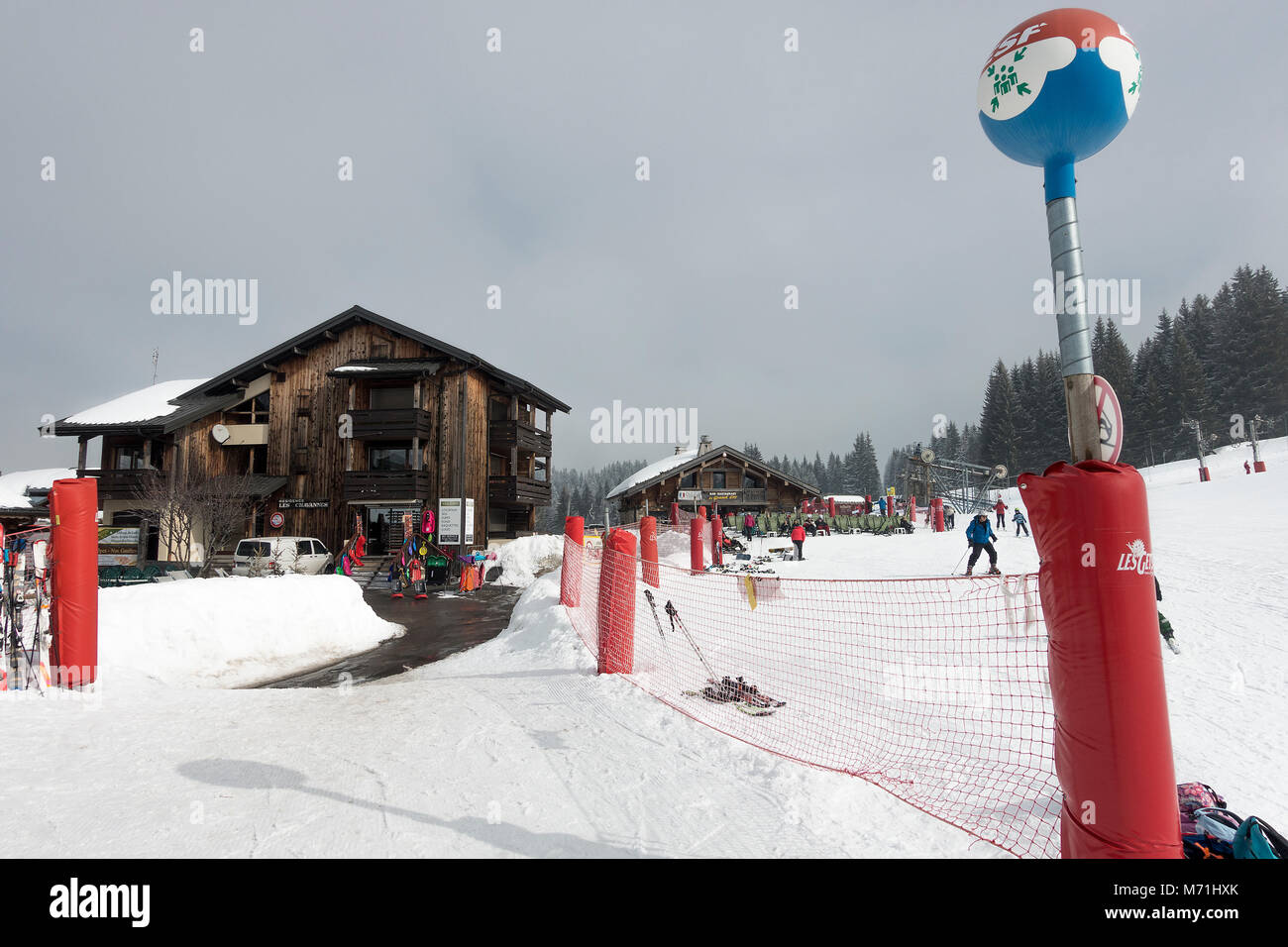 The Chalet Style Le Grand Cry Bar and Restaurant by the Slopes of the Ski Resort Les Gets in the French Alps Haute Stock Photo