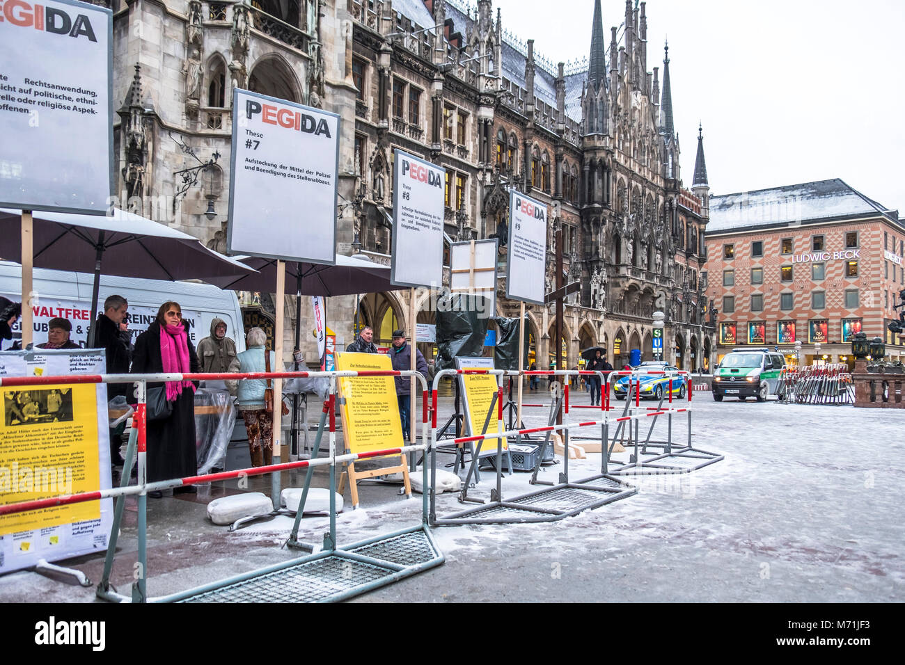 MUNICH / GERMANY - FEBRUARY 15 2018: PEGIDA is demonstrating in the city. Stock Photo