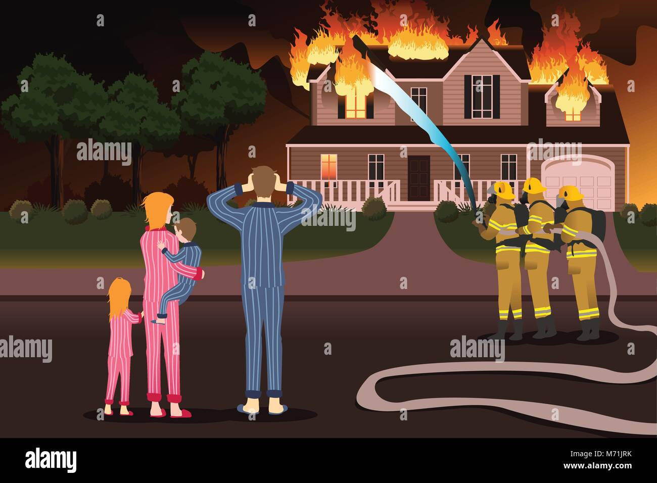 A vector description of Firemen Putting Out Fires of a Burning Home - Stock Vector
