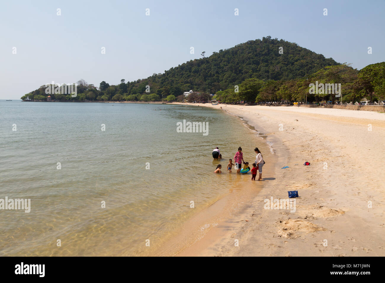 Local people on the beach, Kep Beach, Kep, Kampot province, Cambodia Asia - Stock Image