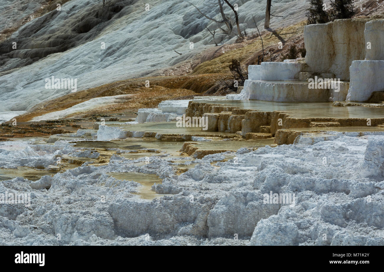 Hot water pools in catchments made from the minerals it carries as it gravity pulls it downhill. - Stock Image