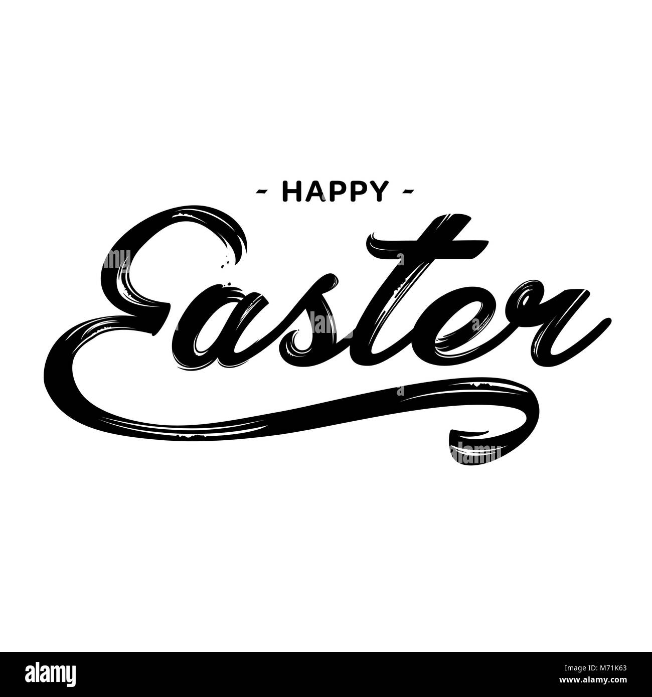 Happy Easter lettering greeting text vector illustration. Happy easter image. - Stock Image