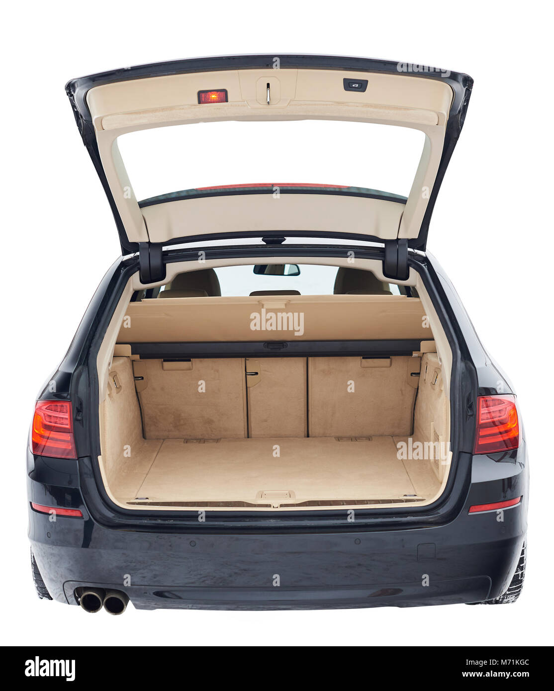 Black car with open brown clean trunk isolated on white background - Stock Image