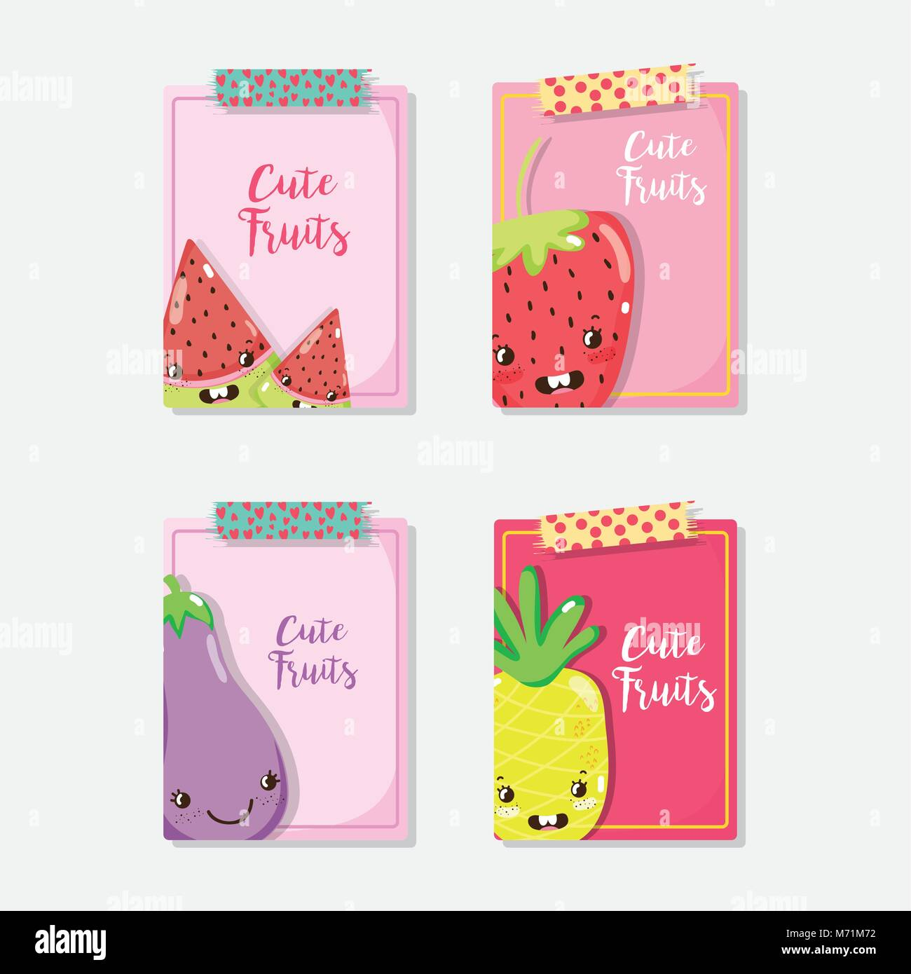 Cue fruits cards cartoons vector illustration graphic design - Stock Image