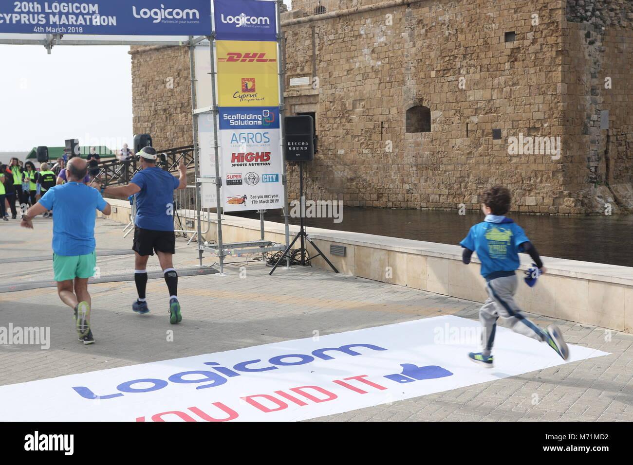 20th Logicom Cyprus marathon, half marathon, 10KM, 5KM fun run for international competitors in Paphos, Cyprus, - Stock Image