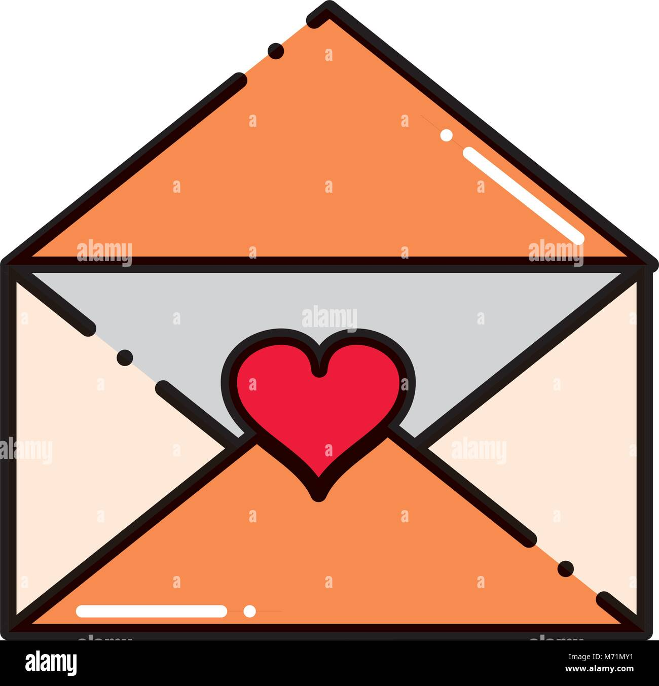 dashed line open love letter with romantic message vector