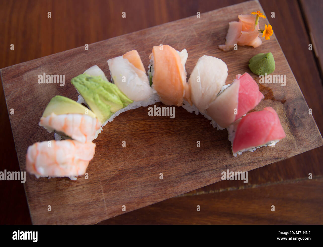Just Served Rainbow Roll - Stock Image