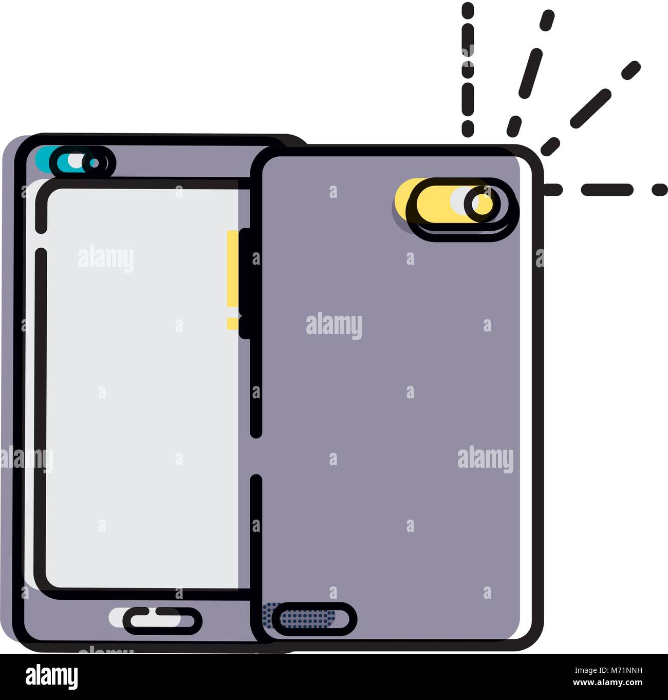 moved color smartphone technology in front and rear style - Stock Vector