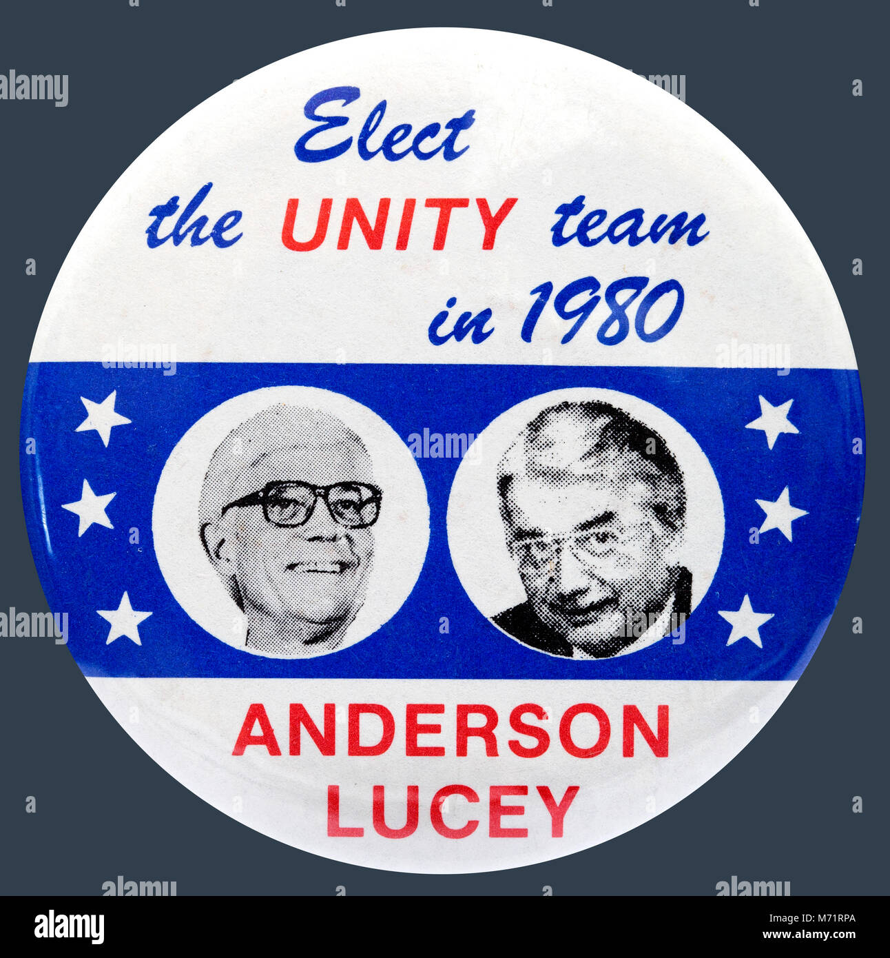 A 1980 United States presidential campaign button badge for the National Unity Party candidates John Anderson and - Stock Image