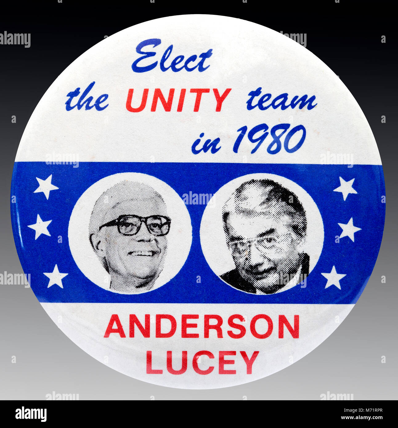 A 1980 United States presidential campaign button badge for the National Unity Party candidates John Anderson and Stock Photo