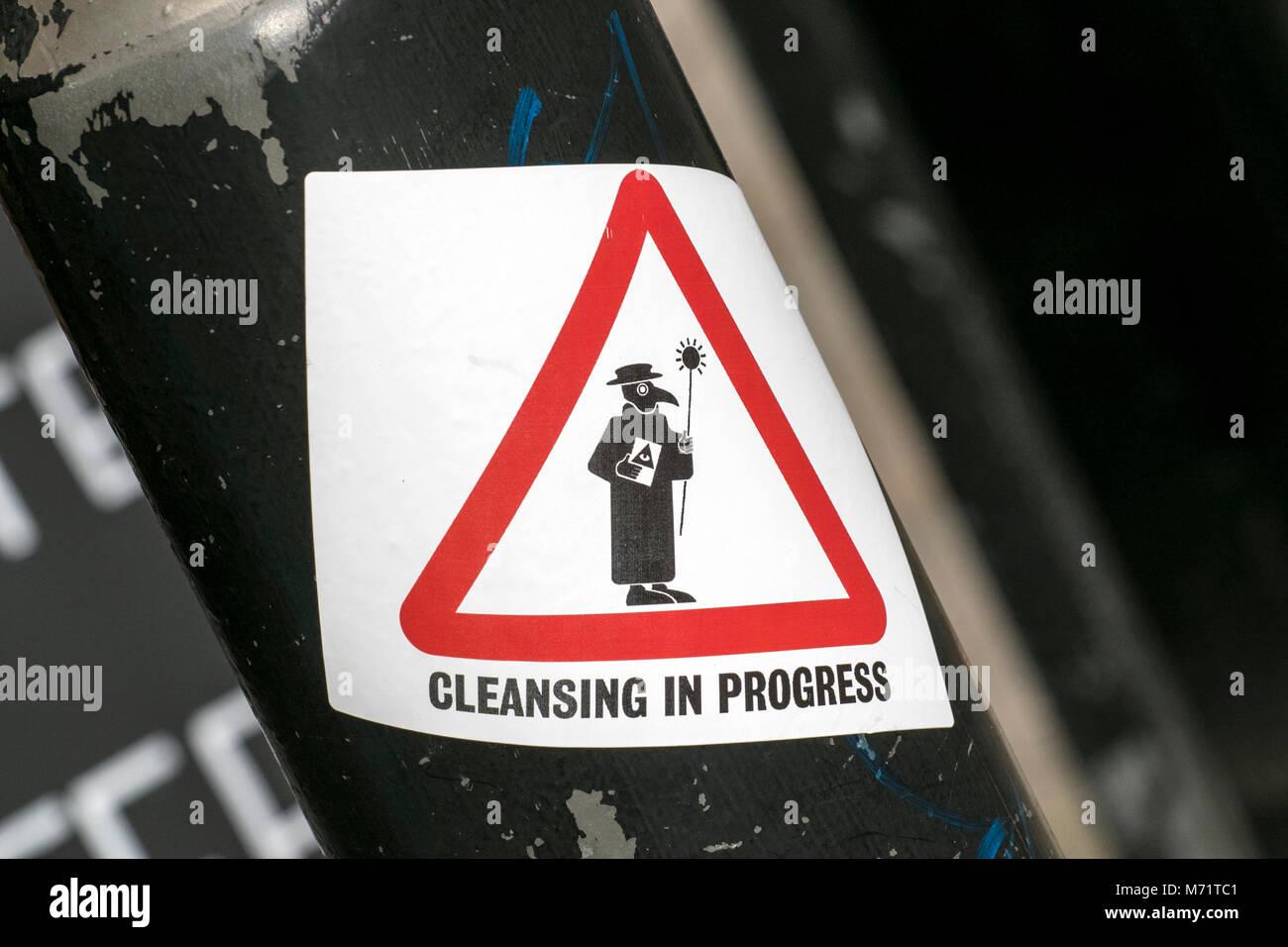 Warning sign; Anti Semitic Semite antisemitism jew Jewish Jews prejudice racist ethnic cleansing racist israel slogan - Stock Image