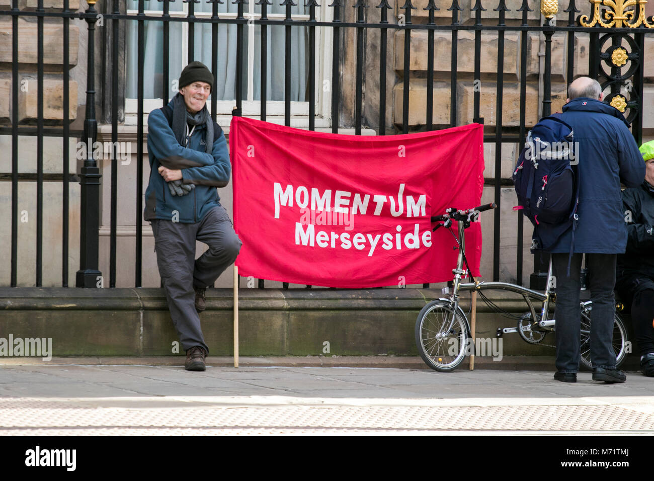Labour party momentum activist protesting Liverpool Merseyside UK - Stock Image
