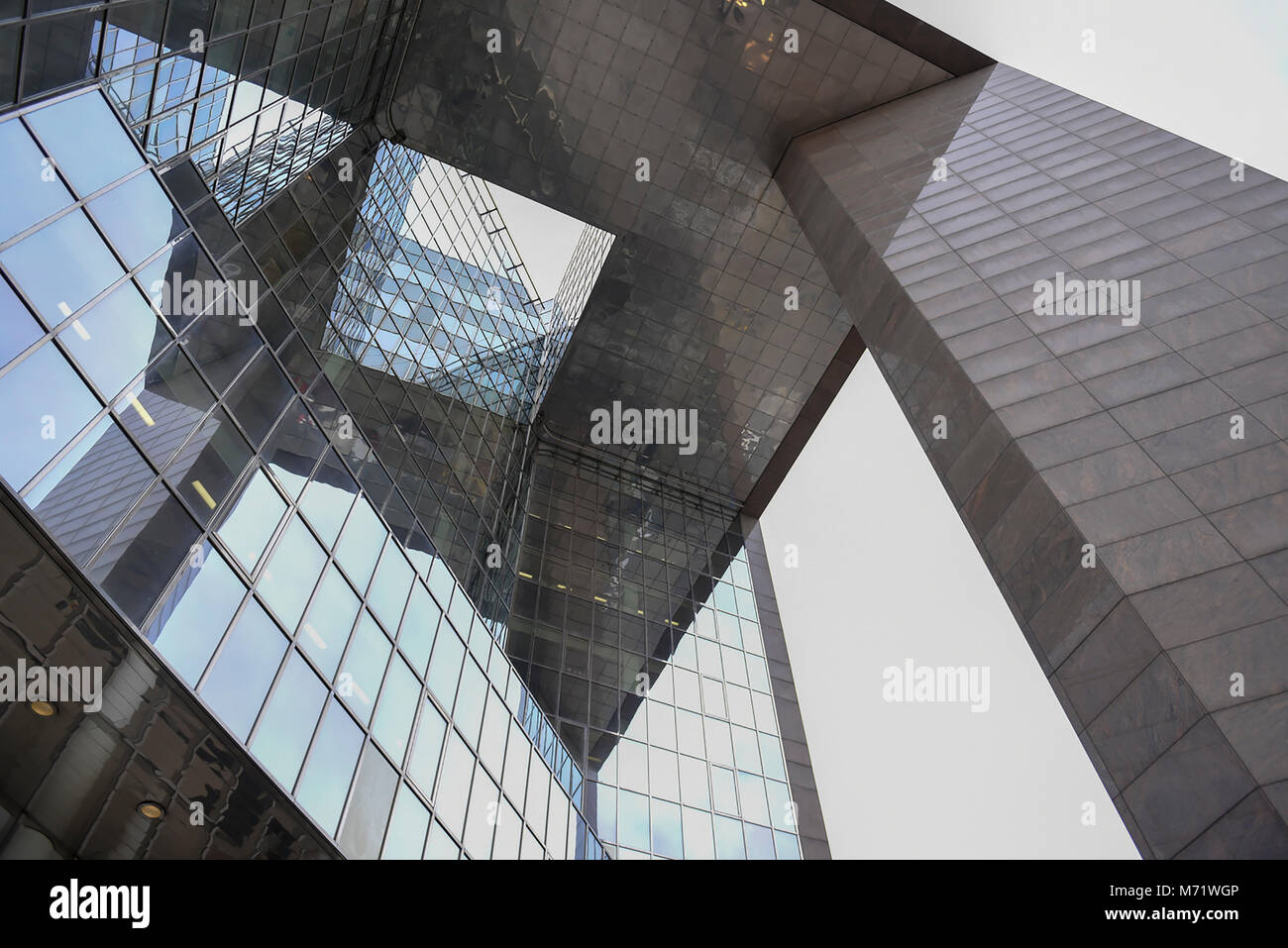 A worms eye view of tall modern office building on the South Bank, Southwark, London - Stock Image