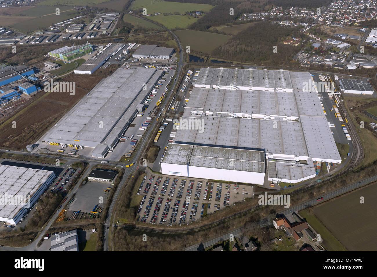 Luftbild, DHL Solutions Retail GmbH, logistics companies, warehouses, Königsborn, Unna, Ruhr area, North Rhine - Stock Image