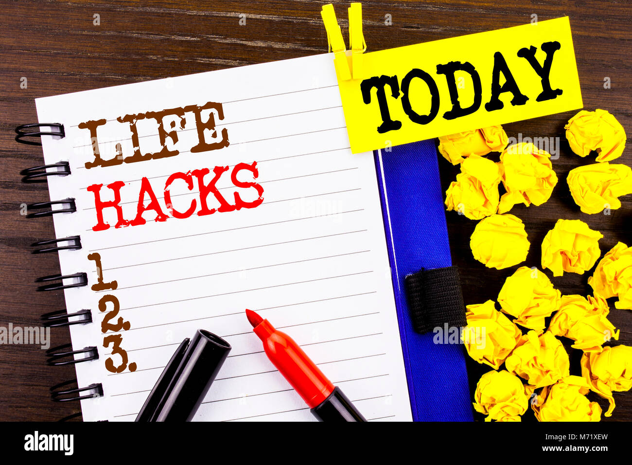 Word, writing, text  Life Hacks. Business concept for Solution Hacking Hack Trick To Help Efficiency written notebook - Stock Image