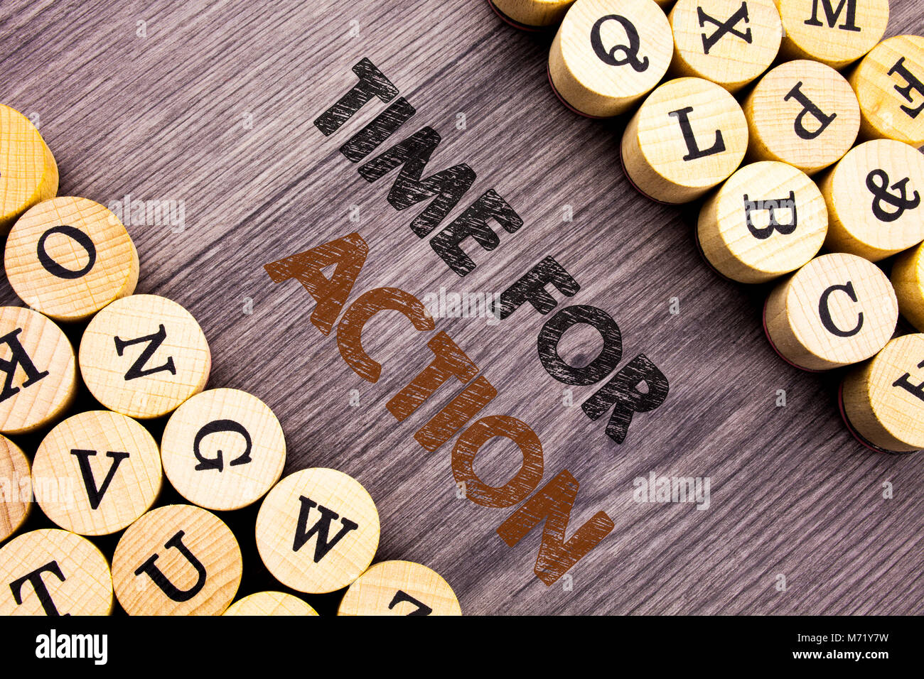 Conceptual hand writing text showing Time For Action. Concept meaning Success Goal Fulfilment Deadline written wooden - Stock Image