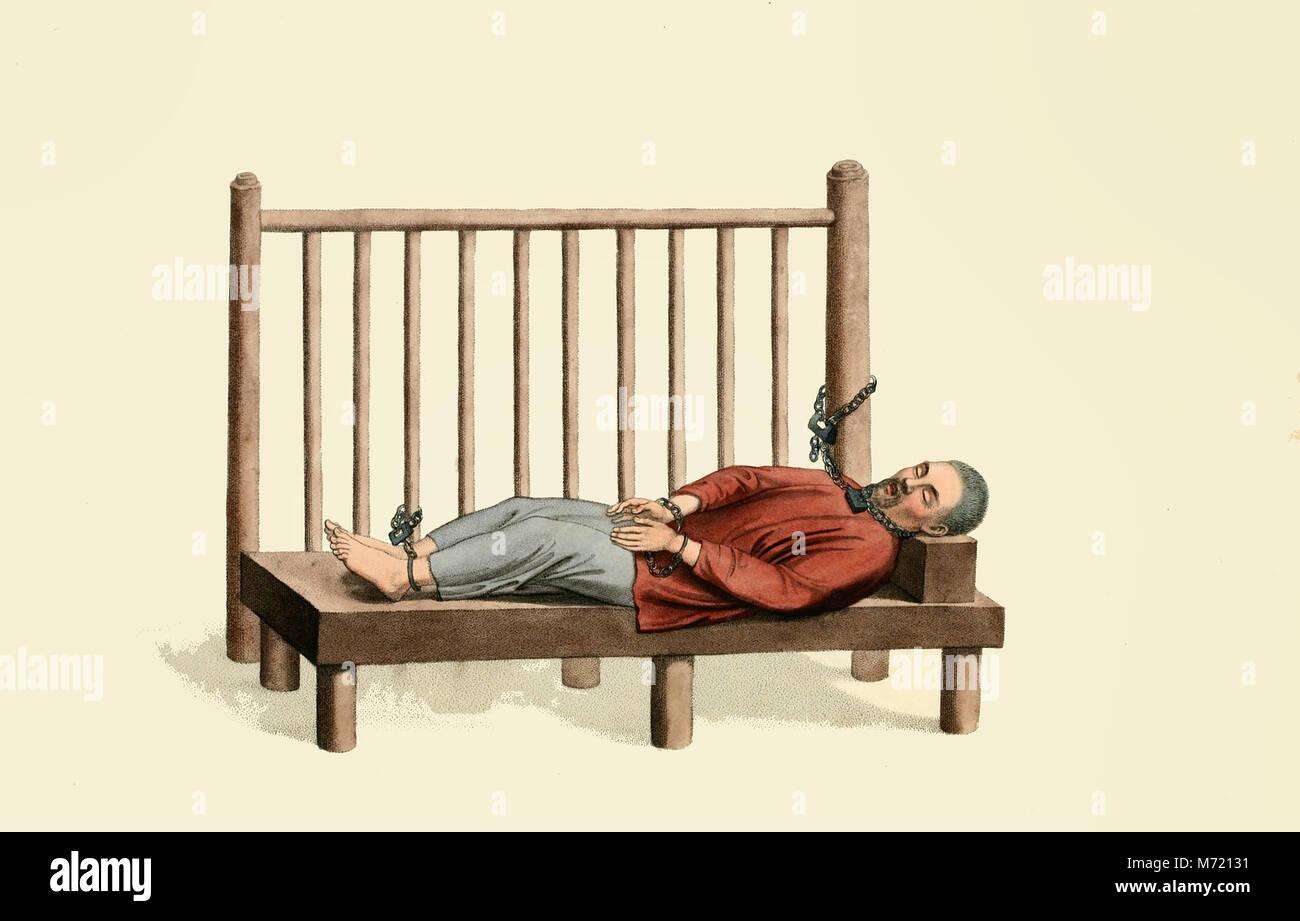 Close confinement - Punishment in China, circa 1800 - Stock Image