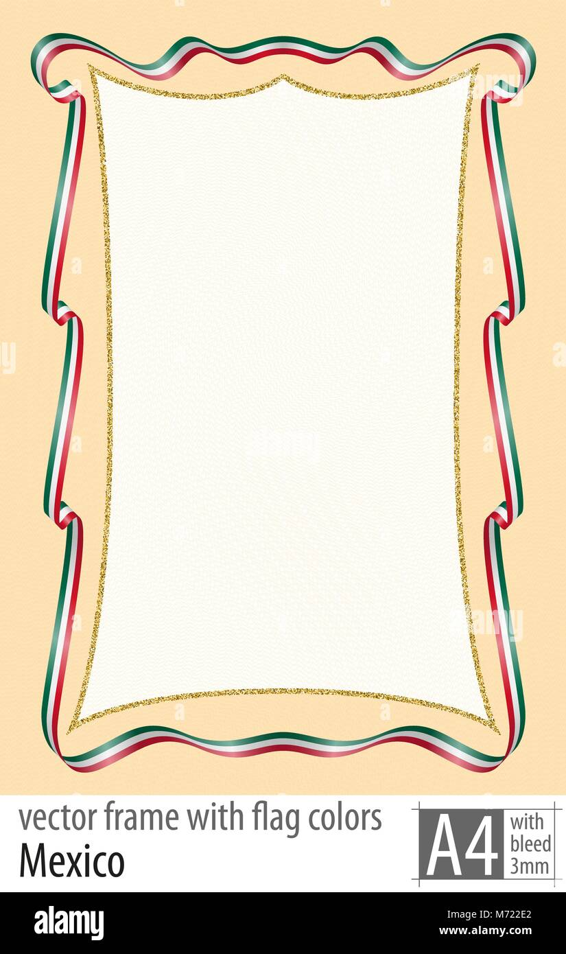 frame and border of ribbon with the colors of the mexico flag with