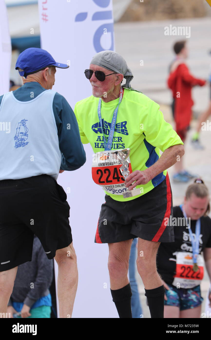 20th (2018) Logicom Cyprus international marathon, half marathon, 10KM, 5KM fun run, Paphos harbour near Paphos - Stock Image