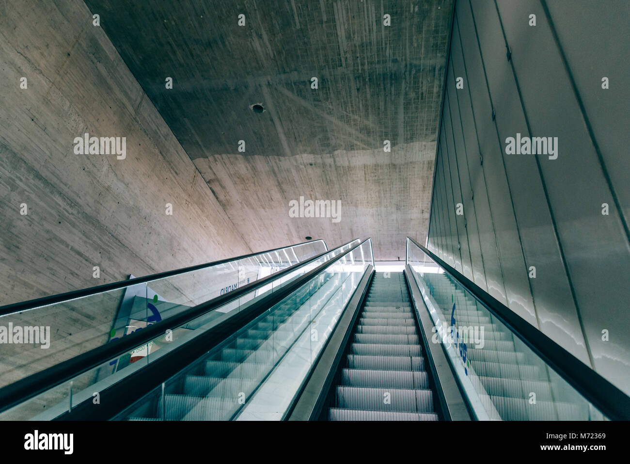 Madrid, Spain - November 3, 2017: Main staircase of Mercado Barcelo in Madrid. It is a modern architecture building Stock Photo