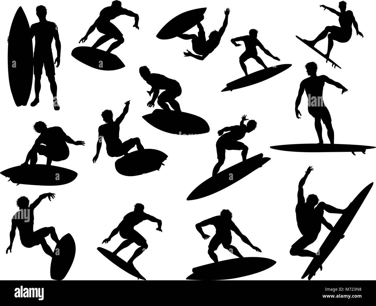 Surfer Silhouette Black And White Stock Photos Images Alamy