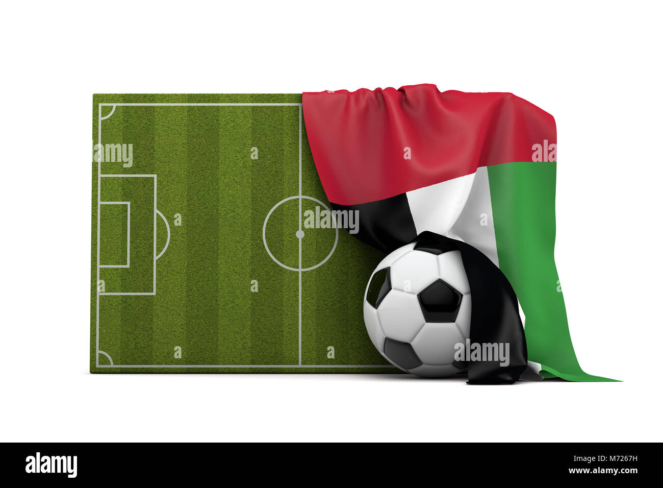 United Arab Emirates country flag draped over a football soccer pitch and ball. 3D Rendering - Stock Image