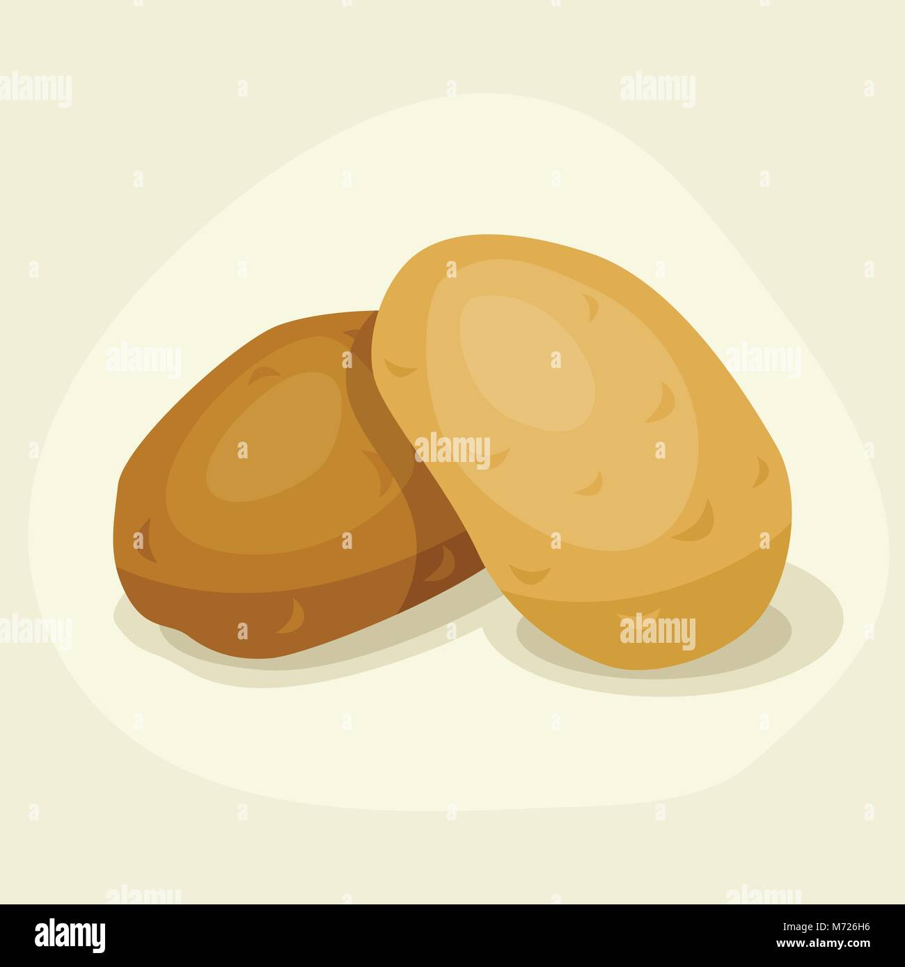Stylized vector illustration of fresh ripe potatoes - Stock Vector