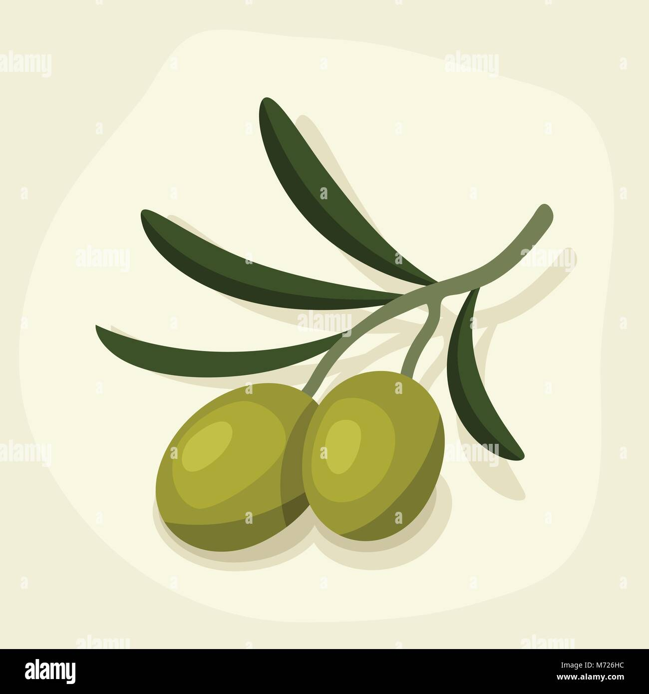 Stylized vector illustration of fresh ripe olive branch - Stock Vector