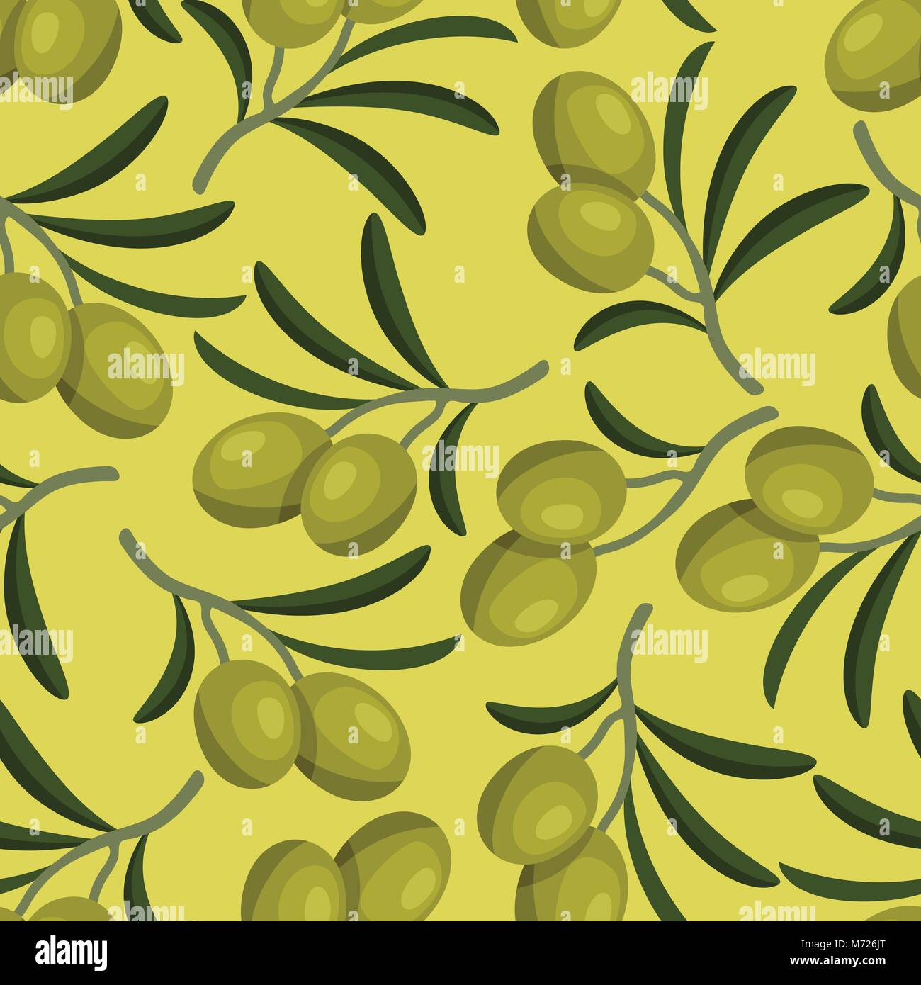 Seamless vector pattern with fresh ripe olive branches - Stock Vector