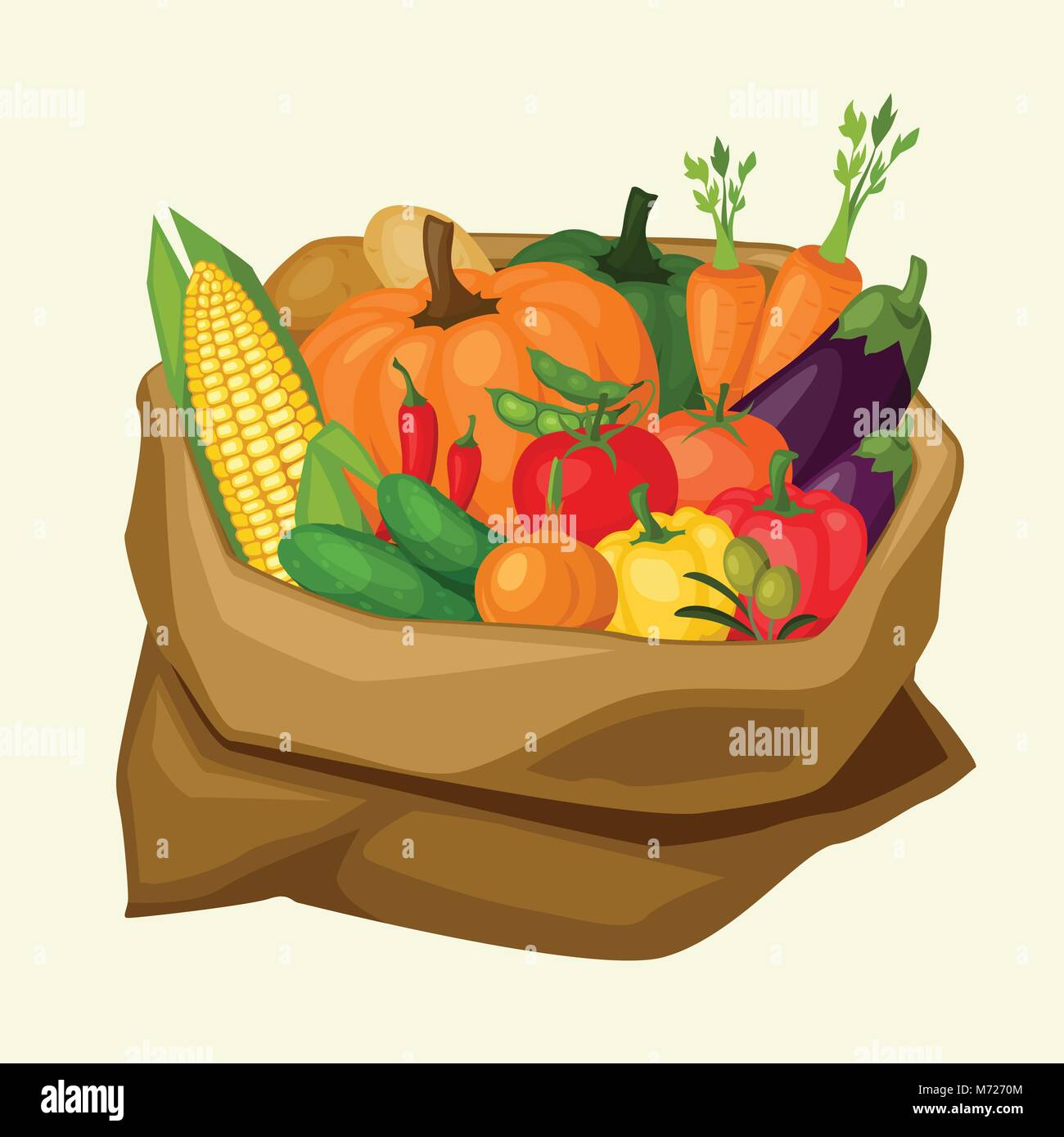 Illustration of stylized sack with fresh ripe vegetables - Stock Vector
