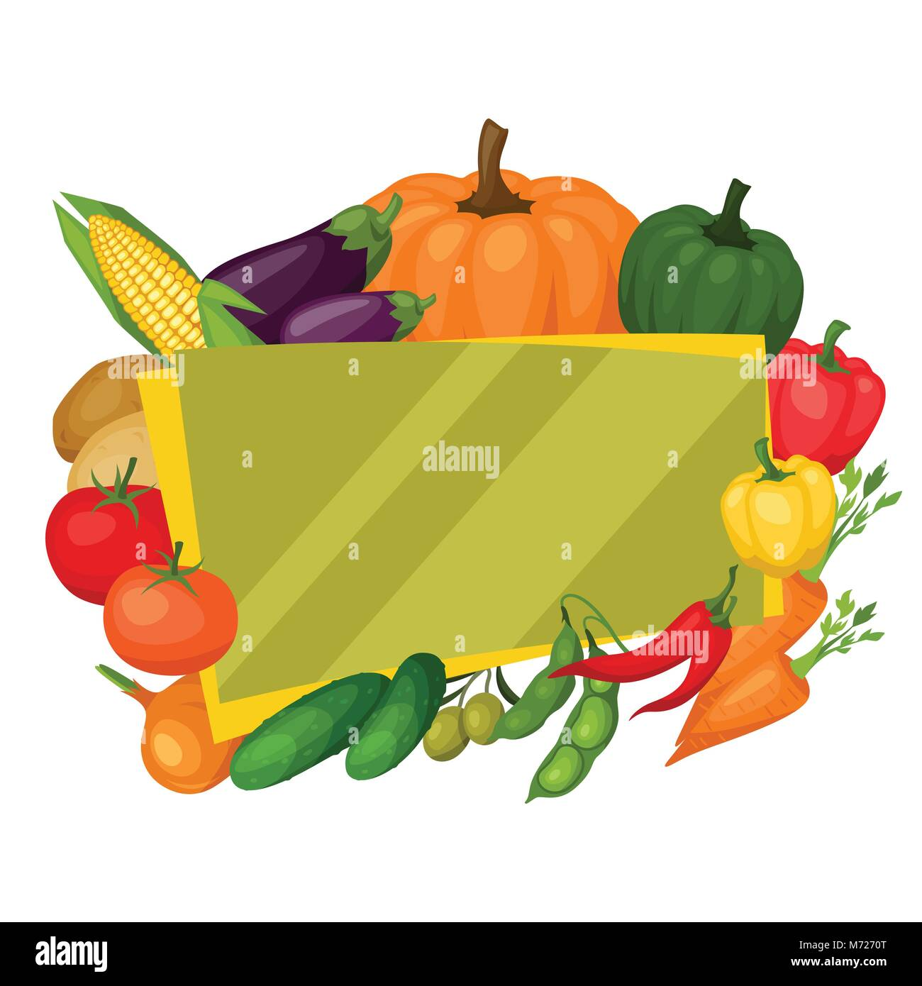 Background design with fresh ripe stylized vegetables - Stock Vector