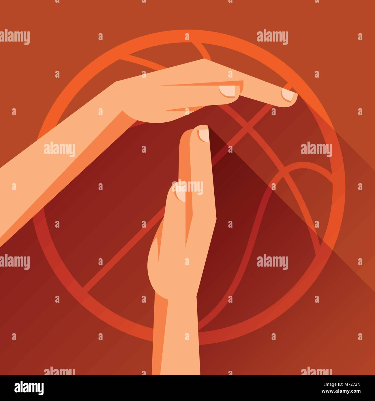 Sports illustration with basketball gesture sign timeout - Stock Vector