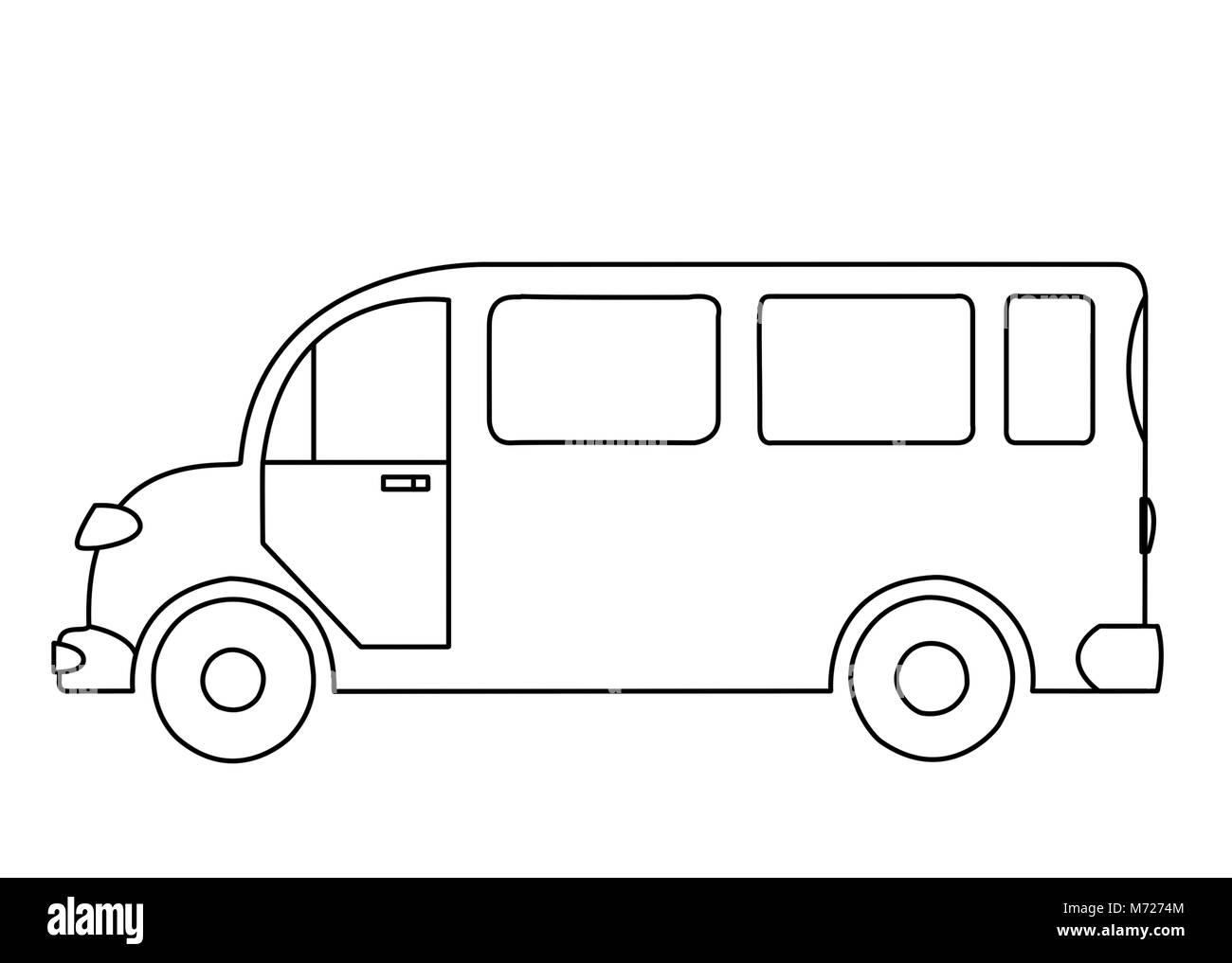 The contoured silhouette of a passenger bus on white background Stock Photo