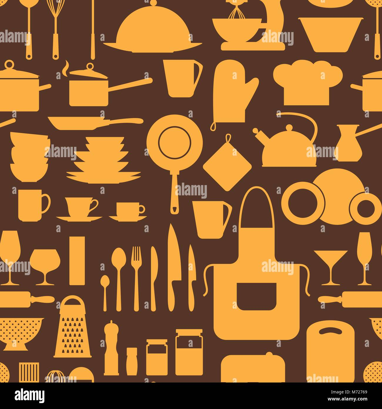 Seamless pattern with restaurant and kitchen utensils - Stock Vector