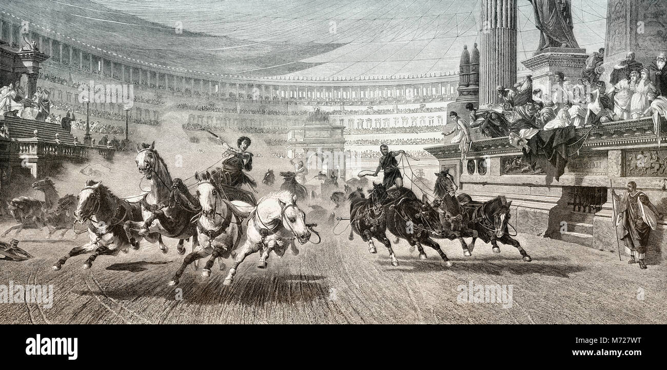 Chariot racer at the Circus Maximus in ancient Rome - Stock Image