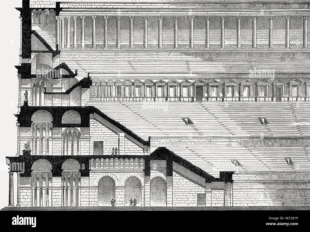 Reconstruction of the Colosseum in ancient Rome - Stock Image