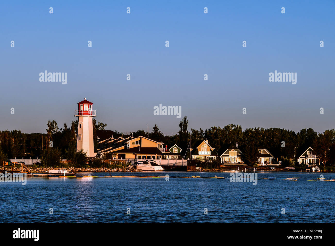 red and white lighthouse in sylvan lake alberta canada. Black Bedroom Furniture Sets. Home Design Ideas