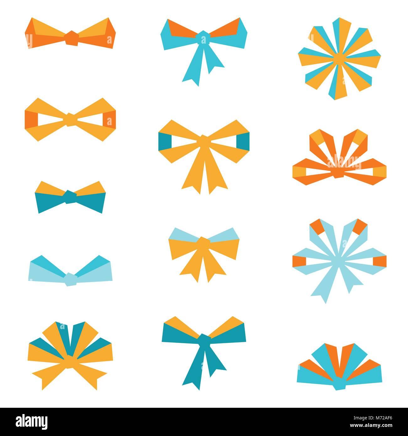 Set of various abstract bows and ribbons - Stock Vector
